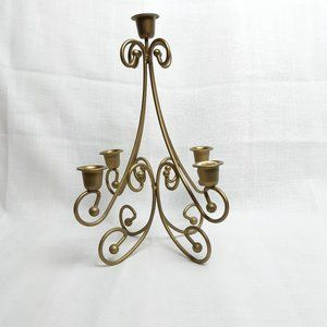 vintage golden 5 candlestick holder